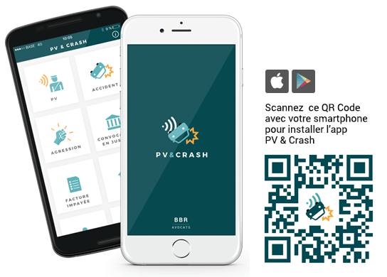 L'application PV Crash, disponible sur le Google Play Store & l'App Store.